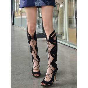 Black Gladiator Sandals Suede Peep Toe Lace Up High Heel Sandal Shoes For Women Recommendations #15310812768