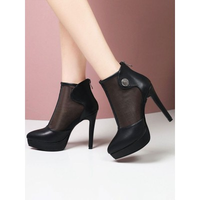 Black Summer Boots Pointed Toe Metal Details Stiletto Ankle Summer Boots #96070908682