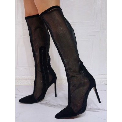 Black Summer Boots Pointed Toe Sky High Stiletto Heel Mesh Micro Suede Knee High Boots spring 2021 #96070949252