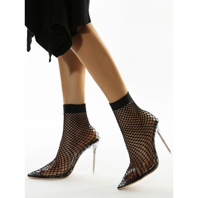Black Summer Boots Women Pointed Toe Mesh High Heel Ankle Boots Business Casual #96070919590