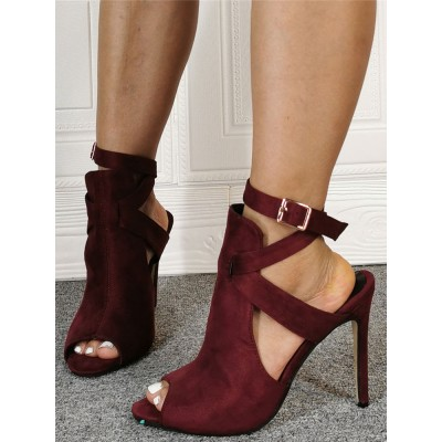 Burgundy Summer Boots Suede Peep Toe Cut Out Ankle Strap High Heel Sandal Booties #96070917244