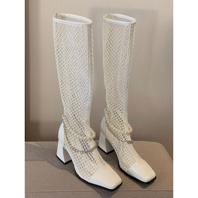 ecru white Summer Boots Square Toe Pearls 3.1 Boots for sale near me #96070948192