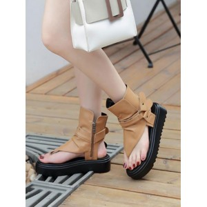 Summer Boots Coffee Brown Square Toe PU Leather Summer Booties Sale #96070952696