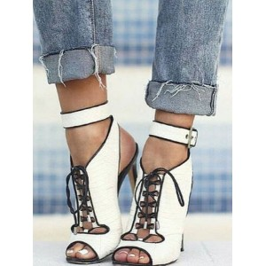 White Ankle Booties Women Peep Toe Lace Up Slingbacks High Heel Sandals Deals #96070812302