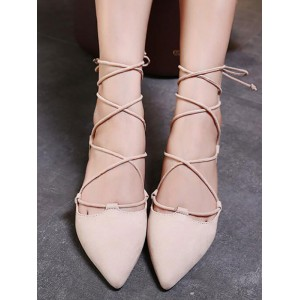 Ballet Flats Apricot Terry Pointed Toe Lace Up Ballerina Flats #113180950800