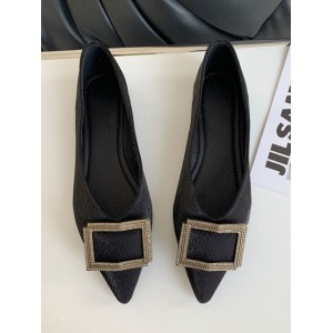 Ballet Flats Black Polyester Pointed Toe Polyster Ballerina Flats Buttons good quality #113180951282