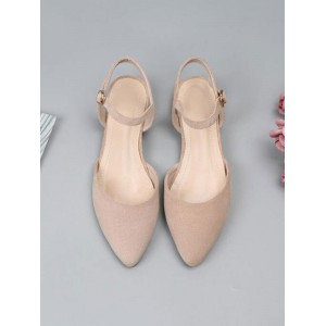 Ballet Flats Black Terry Pointed Toe Ankle Strap Ballerina Flats #113180950796