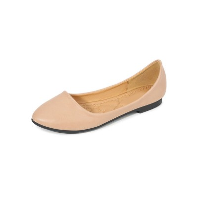 Ballet Flats Deep Apricot PU Leather Pointed Toe White Ballerina Flats 2021 Trends #113180950916