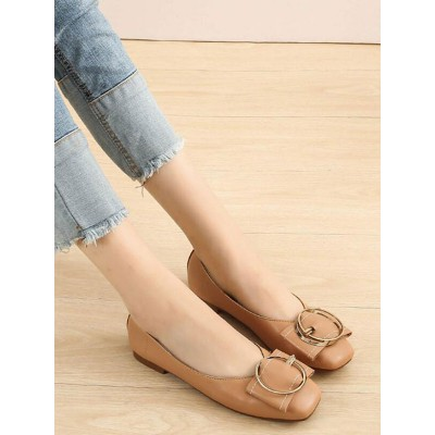 Ballet Flats For Women Coffee Brown PU Leather Metal Details Square Toe Slip-On Ballerina Flats Express #113180942446