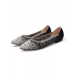 Ballet Flats White Textile Pointed Toe Slip-On Ballerina Flats Recommendations #113180950790