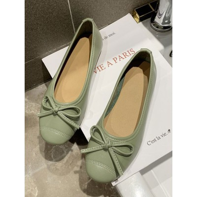 Light Green Ballet Flats PU Leather Round Toe Slip-On Bows PU Leather Ballerina Flats stores #113180942838