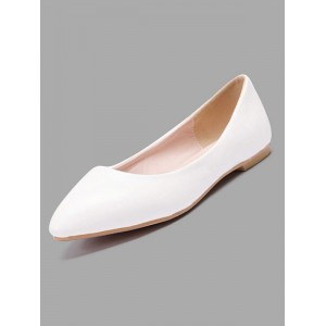 White Ballet Flats Women Pointed Toe Slip On Flat Pumps Bridesmaid Shoes on clearance #06260829866