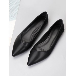 Women Flat Shoes Black Pointed Toe Slip-On PU Leather Ballerina Flats Fit #113180950788