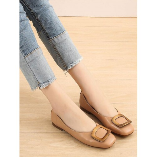 Women Flat Shoes Coffee Brown Square Toe Slip-On Metal Details PU Leather Ballerina Flats on clearance #113180942448