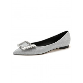 Women's Sliver Ballet Flats Sequined Cloth Pointed Toe Rhinestones Flat Slip On Shoes Fit #06260923128