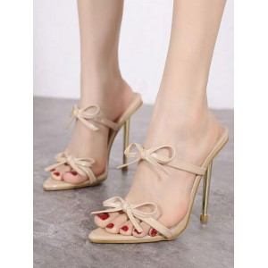 Apricot Heeled Mules For Women Pointed Toe Stiletto Heel PU Leather Summer Heeled Sandals quality #11100945048