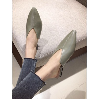 Green MulesPU Leather Pointed Toe Flat Heel Summer Slippers #06200945100