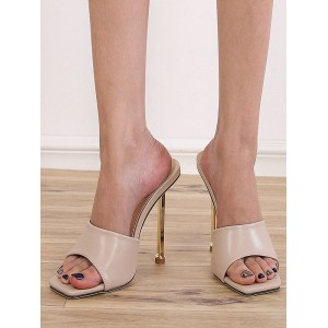 Heeled Mules Apricot Square Toe Stiletto Heels PU Upper Sexy Heeled Slipper most comfortable #11100942850