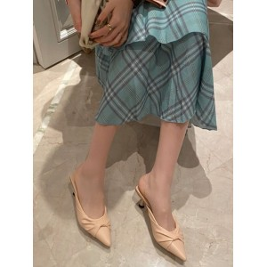 Women Apricot Mules PU Leather Pointed Toe Slip On Stiletto Heel Sandals on sale near me #06200931426