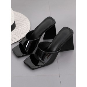 Women Heel Mules Black Square Toe Chunky Heel Patent Leather Heel Mules Recommendations #11100958876