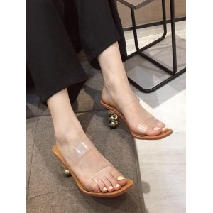 Women Heeled Mules Square Toe Stiletto Heels Casual Apricot Heeled Slippers spring 2021 #11100945088