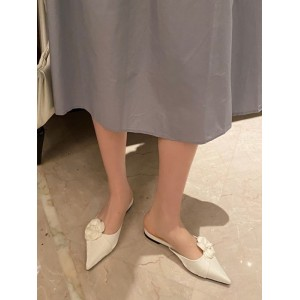 Women Mules Micro Suede Upper Ivory Pointed Toe Shoes Slip On Flat Sandals Latest Fashion #06200931428