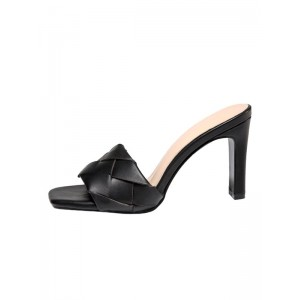 Women Sandals High Heels Black Knitted Leather Shoes sale next #11100917254