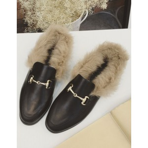Womens Black Flat Loafer Mules Round Toe Rabbit Fur Slippers 2021 Trends #10120631701