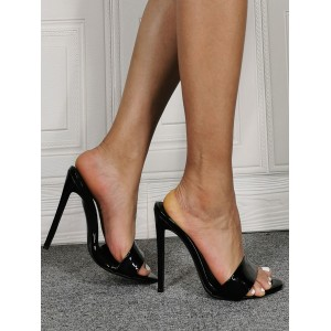 Womens Black Patent Leather Mule Heels lifestyle #113240938224