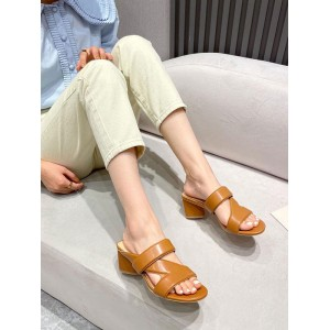 Womens Heel Slipper Coffee Brown Square Toe Chunky Heel PU Leather Daily Casual Slippers in style #11100937758