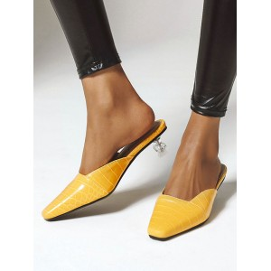 Womens Low Heel Yellow Mules Shoes Square Toe Kitten Heel Sandals stores #06200900106