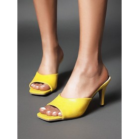 Womens Slippers Yellow Square Toe Stiletto Heel PU Leather Slippers Sandals hot topic #11100933304