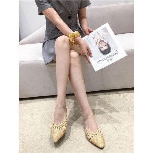 Yellow Mules For Women Pointed Toe Summer Casual Flat Slippers #06200945092