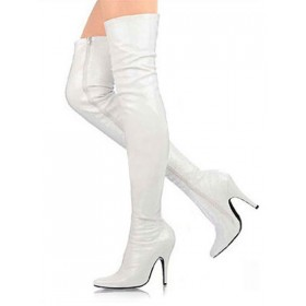 3 3/5'' High Heel White Patent Thigh High Sexy Boots business casual #04270011287