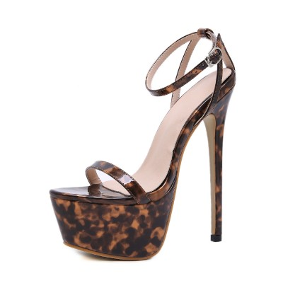 Ankle Strap Sexy Sandals For Woman Leopard Print Platform 6.3 Stiletto Heel Sexy Shoes Stripper Shoes Selling Well #12400890460