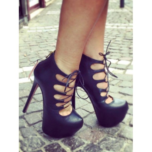 Black High Heels Women Sexy Shoes Almond Cut Out Lace Up Heels Sale #12390741754