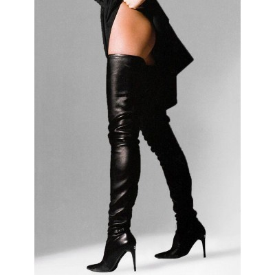 Black Leather Thigh High Boots 2021 Pointed Toe Over The Knee Boots US 6-12 Stripper Shoes #12420827168