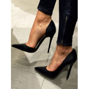 Black Satin High Heels Pointed Toe Stiletto Heel Pumps For Women Casual #23600742066