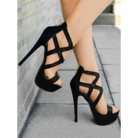Black Sexy Sandals High Heel Sandals Open Toe Strappy Sandal Shoes For Women On Sale #12400730994