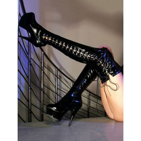 Black Sexy Shoes Women Platform Almond Lace Up High Heel Over The Knee Boots Stripper Shoes #12420821594