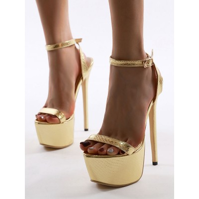 High Heel Sexy Sandals Blond Leather Round Toe Golden Sexy Sandals 2021 Trends #12400906594