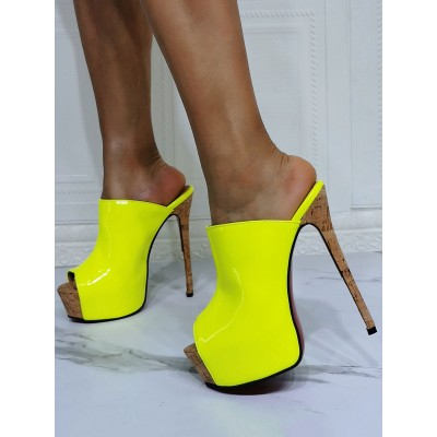 High Heel Sexy Sandals Daffodil Patent PU Upper Open Toe Sexy Heeled Slippers Boutique #12400952722