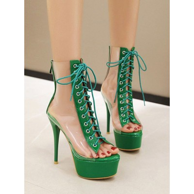 High Heel Sexy Sandals Green PVC Upper Round Toe Sexy Shoes Stripper Shoes Casual #12400911538