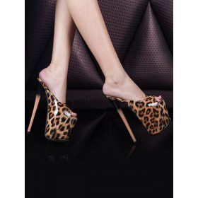 High Heel Sexy Sandals Leopard Leather Peep Toe Sexy Mules Stripper Shoes #12400915386