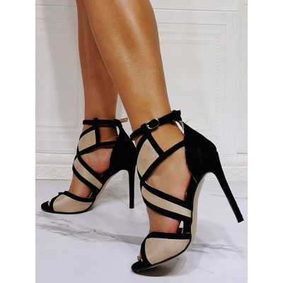 High Heel Sexy Sandals Light Apricot Micro Suede Upper Open Toe Ankle Strap Heels #12400958860