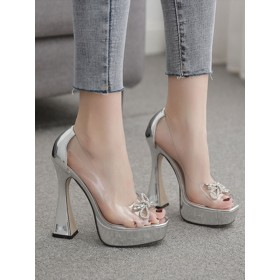High Heel Sexy Sandals Silver Leather Open Toe Platform Transparent Sexy Pumps #12400914722