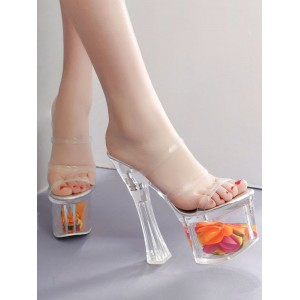 High Heel Sexy Sandals Transparent Leather Square Toe Platform Sexy Sandals Stripper Shoes Discount #12400907250