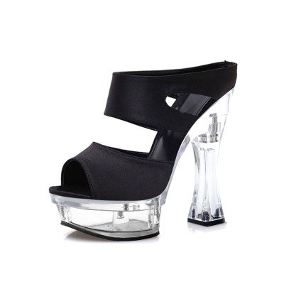 High Heel Sexy Sandals Transparent PU Leather Open Toe Chunky Heel Mules Stripper Shoes #12400956346