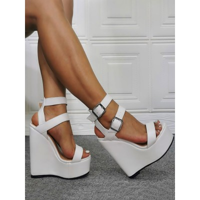 Mens Sexy Heel Sandals White PU Leather Wedge Heel Sexy Shoes Plus Size Shoes online shopping #12400936920