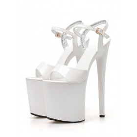 Pleaser Heels Sexy 8 Inch High Heel Sandals White Patent Leather Open Toe Stripper Shoes Stripper Shoes Shop #12400901988